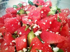 Watermelon, Cucumber and Feta Salad.all I want to eat these days. Watermelon And Feta, Cucumber, Greek Dishes, Feta Salad, My Cookbook, Calorie Intake, Greek Salad, I Want To Eat, Mediterranean Recipes