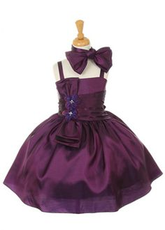 Purple Big Bow Taffeta Girl Dress
