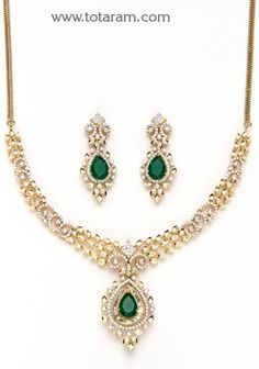 Check out the deal on Gold Diamond Necklace & Drop Earrings Set with Ruby & Onyx at Totaram Jewelers: Buy Indian Gold jewelry & Diamond jewelry Gold Jewellery Design, Gold Jewelry, Diamond Jewelry, Indian Wedding Jewelry, Bridal Jewelry, India Jewelry, Jewelry Sets, Diamond Necklace Set, Stone Necklace