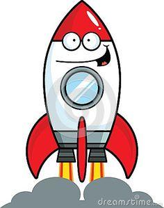 Rocket Ship Clipart Image: Cartoon Rocket Blast Off | Flag ...