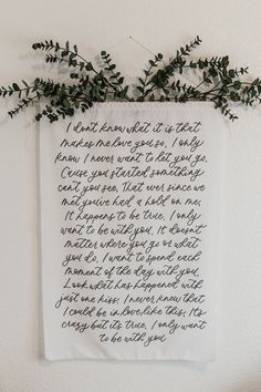 Cotton and Ink Calligraphy, song lyrics calligraphy fabric tapestry wall decor. Calligraphy Quotes Lyrics, Calligraphy Drawing, Tapestry Fabric, Wall Tapestry, Tapestry Quotes, Framed Quotes, Letter Wall, Wedding Signs, Wedding Vows