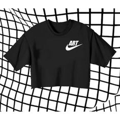 ART Nike Logo Crop Top Aesthetic Teen Tumblr 90s Fashion Soft Grunge... ($17) ❤ liked on Polyvore featuring tops, t-shirts, logo tees, crop top, faded t shirts, graphic tees and graphic design tees