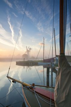 Sailing boats and Thurne Drainage Mill on a misty morning on the Broads - image by Chris Herring England Ireland, Norfolk England, Norfolk Broads, Norwich Norfolk, Rivage, British Isles, Ponds, Great Britain, Places To See
