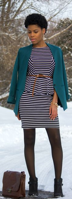 Teal Blazer and Striped Peplum Dress | Re-Style Wednesday / The Office Armoire