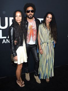 Pin for Later: 28 Pictures That Prove Zoë Kravitz Had No Choice but to Be Ridiculously Good Looking  Zoë arrived at the Saint Laurent runway show in LA with her gorgeous parents in February 2016.