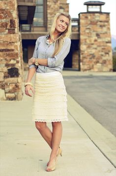 Elle Apparel: lace and chambray * cute! I should tuck my chambray into my long brown leopard skirt