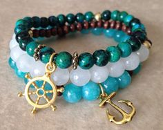 Boho stretch bracelets, yoga bracelets, elastic beaded bracelet- Set of beach/ocean theme stack bracelets. Pandora Bracelets, Gemstone Bracelets, Pandora Jewelry, Jewelry Bracelets, Jewelery, Stack Bracelets, Yoga Bracelet, Stretch Bracelets, Bracelet Making