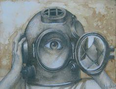 Título: Pensamiento angustioso (Escafandra) Autor: Marcelo Calvillo Técnica: Lápiz de grafito y café soluble.
