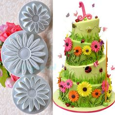 3x Sunflower Fondant Cake Decorating Cookies Sugarcraft Plunger Cutter Mold Tool