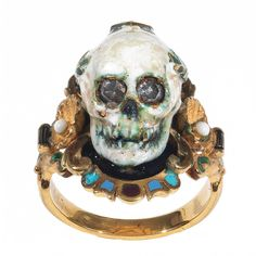 Attilio Codognato Enamel Diamond Ruby gold Skull Shell Memento Mori Ring size 8 | From a unique collection of vintage fashion rings at https://www.1stdibs.com/jewelry/rings/fashion-rings/