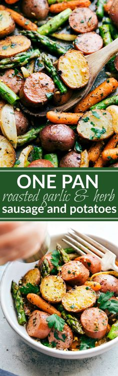 Roasted garlic and herb potatoes, asparagus, carrots, onions, and sausage all prepared on one sheet pan. An easy family-friendly meal. video tutorial My toddler is obsessed with making food video