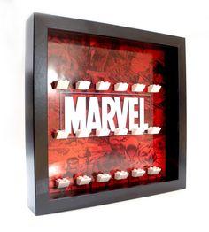 Marvel Logo Lego Minifigure Display von StickaBrickFrameCo auf Etsy