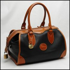 Designer purse - Seasoned classic black all weather pebbled leather Dooney  Bourke doctor handbag e4ab19ce1239b