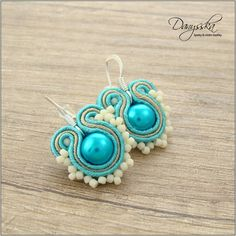Small Gold and Turquoise Green Elegant Soutache Earrings Silver Plated 280