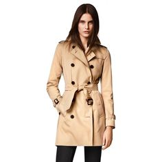 Burberry Kensington Mid-Length Heritage Trench Coat ($1,795) ❤ liked on Polyvore featuring outerwear, coats, apparel & accessories, burberry coat, tie belt, burberry, mid length trench coat and checked coat