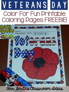#FREE Veterans Day! Color For Fun Printable Coloring Pages! #TPT #FREEBIE #VeteransDay #USA