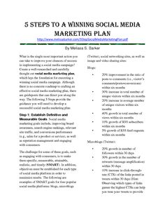 Social Media Business Plan Template Social Media Planner Template