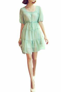 Gamiss Women's Romantic Flowing Chiffon Low Cut Tie-up Short Puff Sleeve Pleated Dress, Green,Regular Sizing 4 Gamiss,http://www.amazon.com/dp/B00BLHU9G6/ref=cm_sw_r_pi_dp_E9zvtb1AGF7SZD96