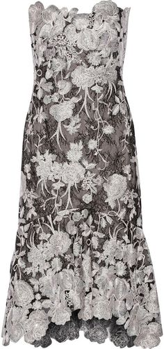 Marchesa Notte Strapless Embroidered Lace Midi Dress