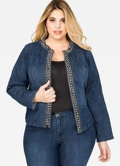 Sparkle like you mean it in this plus size jean jacket featuring glam rhinestone embellishments. Blazer Fashion, Suit Fashion, Denim Fashion, Fashion Dresses, Emo Fashion, Curvy Outfits, Plus Size Outfits, Suits For Women, Clothes For Women