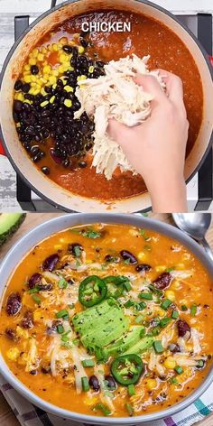 This Chicken Enchilada Soup recipe is so creamy, thick, and easy to make. Loaded with hearty shredded chicken and beans, it is a crowd-pleasing soup that's full of your favorite Mexican flavors and very comforting and delicious. Creamy Chicken Enchiladas, Beef Enchiladas, Creamy Chicken Pasta, Health Dinner, Soup And Salad, Orzo Salad, Mexican Food Recipes, Ethnic Recipes, Natural Food Recipes
