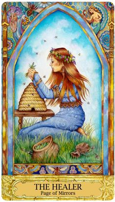 "Chrysalis Tarot Page of Mirrors ""The Healer"" aka Page of Cups Oracle Tarot, Daily Tarot, Angel Cards, Tarot Decks, Archetypes, Healer, Tarot Cards, Mythology, Fantasy Art"