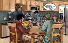 Castiel, Sam, Kevin, Dean, and Charlie Having Breakfast in the Kitchen Fan Art. With Dean and Charlie arguing about Star Trek, so adorable!
