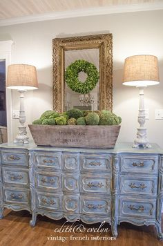 Cathy feature 2 - Blue Dresser Charming French Country Design and Decor Ideas for 2018 French Country Bedrooms, French Country House, French Farmhouse, Farmhouse Style, Rustic French, French Cottage, Shabby Cottage, Cottage Chic, French Decor