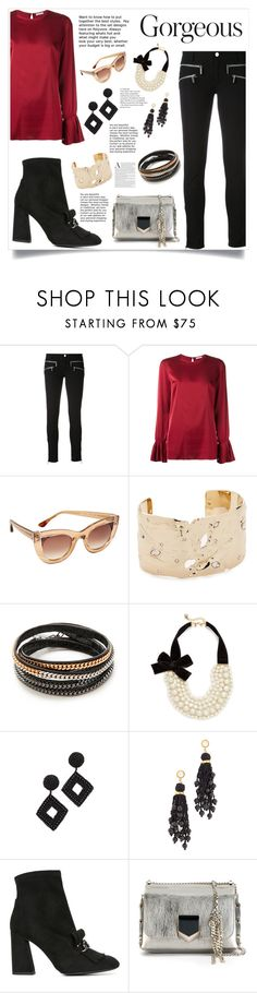 """""""Holiday fashion"""" by monica022 ❤ liked on Polyvore featuring P.A.R.O.S.H., Thierry Lasry, Alexis Bittar, Vita Fede, Kate Spade, Kenneth Jay Lane, Lizzie Fortunato, Stuart Weitzman and Jimmy Choo"""