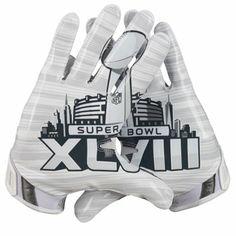 Nike Super Bowl XLVIII Silver Storm Vapor Jet 3.0 Gloves - White