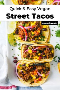 These plant based street tacos are fast and easy, full of bold flavor! Everyone will love this vegan dinner idea. | dinner ideas | healthy dinner recipes | mexican food recipes | vegetarian recipes | vegan recipes | plant based recipes | gluten free recipes | dairy free recipes | #vegantacos #veganstreettacos #plantbasedtacos #plantbased #vegan #dinner #easy #quick Vegan Recipes Plant Based, Vegetarian Recipes Dinner, Vegan Dinners, Vegetable Recipes, Healthy Dinner Recipes, Mexican Food Recipes, Appetizer Recipes, Whole Food Recipes, Cooking Recipes
