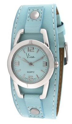 Viva SilverTone Round Blue Faux Leather Cuff Watch V3070BL ** You can find out more details at the link of the image.Note:It is affiliate link to Amazon. #commentbackteam