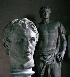 """theworldofalexanderthegreat: """"Statue and bust of Alexander the Great in the Istanbul archaeological museum. The extraordinary bust was found by archaeologists working at Pergamum. """""""