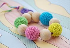 Teething toy with crochet wooden beads Bright yellow by nihamaj, $19.00