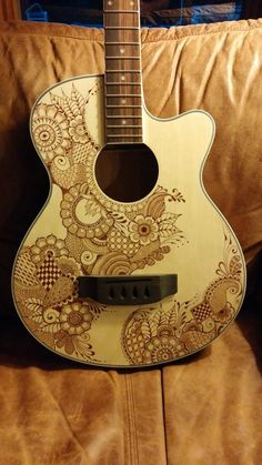 Bass Guitar - Hand drawn henna style design by jlynch2000