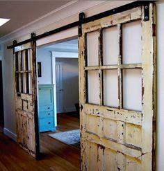 Schiebetür holz rustikal mit glas  holz glas schiebetüren wohnzimmer diy | Schiebetüren | Pinterest ...