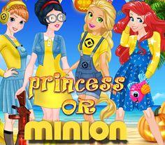 Princess or Minions: As princesas são grandes fãs de minions, então elas decidiram usar roupas e acessórios inspirados no filme Meu malvado favorito. Elas contam com sua ajuda para criar lindos looks.