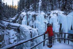 Exploring Johnston Canyon in winter