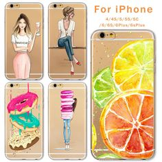 Case For Apple iPhone 6 6s Plus 6Plus 4 4S 5 5S SE 5C Soft Silicon TPU Transparent Fruit Grils Macaron Dessert Phone Capa Cases -- Find out more by clicking the VISIT button
