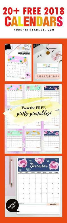 Check out this amazing roundup of free printable 2018 calendars!