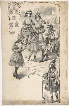 Designs for Girl's Dresses Attributed to A. Foa  (French, active 1900–1918)