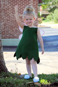 Tinkerbell costume: Maybe a green pillow case, cut hole for head and bottom scallop, buy wings from the party store and use packing tape to add large puffs to any shoe