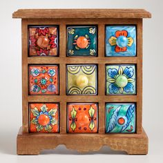 Love this for holding tea bags, hot chocolate, etc; Wood Chests with Ceramic Drawers | World Market