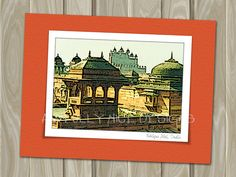 Fatehpur Sikri India  - blank note card by Awfully Nice Designs.