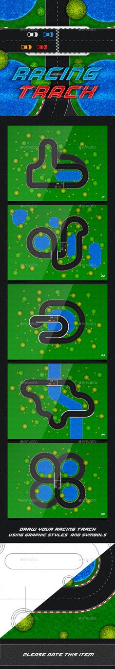 Racing Track. Game Asset — AI Illustrator #map #racing • Available here → https://graphicriver.net/item/racing-track-game-asset/11687567?ref=pxcr