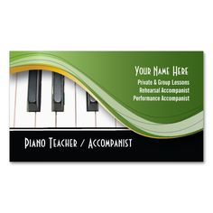 Classy Piano Teacher Business Card. I love this design! It is available for customization or ready to buy as is. All you need is to add your business info to this template then place the order. It will ship within 24 hours. Just click the image to make your own!