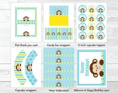 Mod Monkey Birthday Party Package INSTANT by LittlePrintsParties