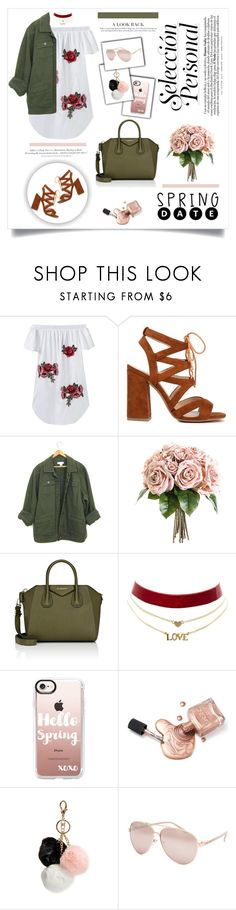 """Nothing happens unless first we dream"" by kikusek ❤ liked on Polyvore featuring Givenchy, Charlotte Russe, H&M, Casetify, GUESS, Full Tilt, Spring, ootd, military and choker"