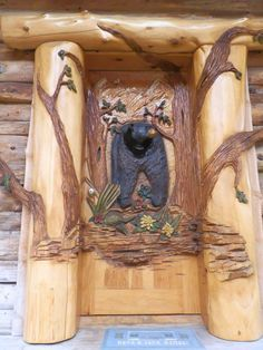 Chainsaw Carved Log Door. Rustic More