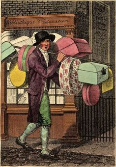 """""""Itinerant Traders of London in their Ordinary Costume with Notices of Remarkable Places given in the Background"""" by William Marshall Craig (1804): """"Band boxes. Generally made of pasteboard, and neatly covered with coloured papers, are of all sizes, and sold at every intermediate price between sixpence and three shillings."""""""